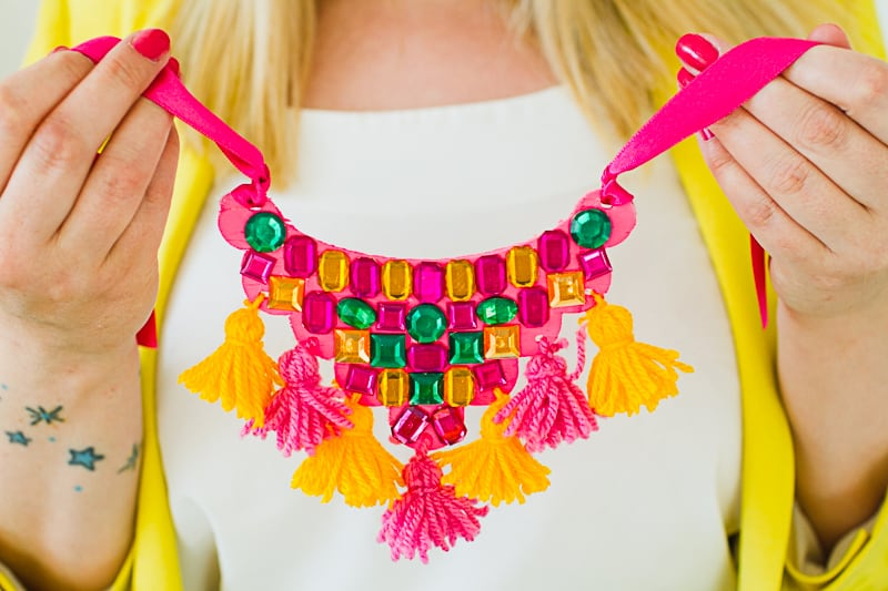 DIY Mexican Inspired Necklace Tassel Gem colorful ribbon fashion_-4