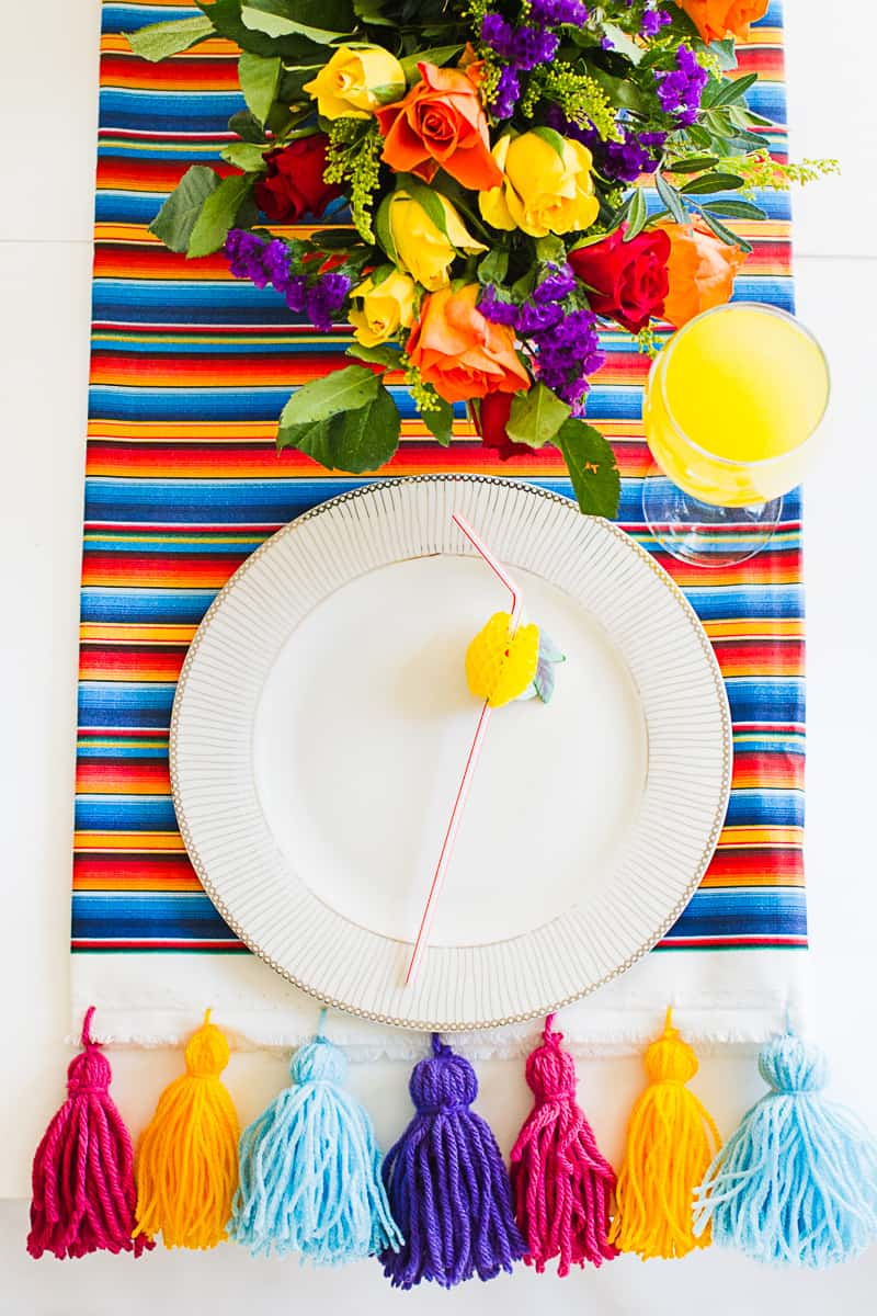 DIY Tassel Tassle table cloth with Zazzle Mexican inspired wedding inspiration styling-15