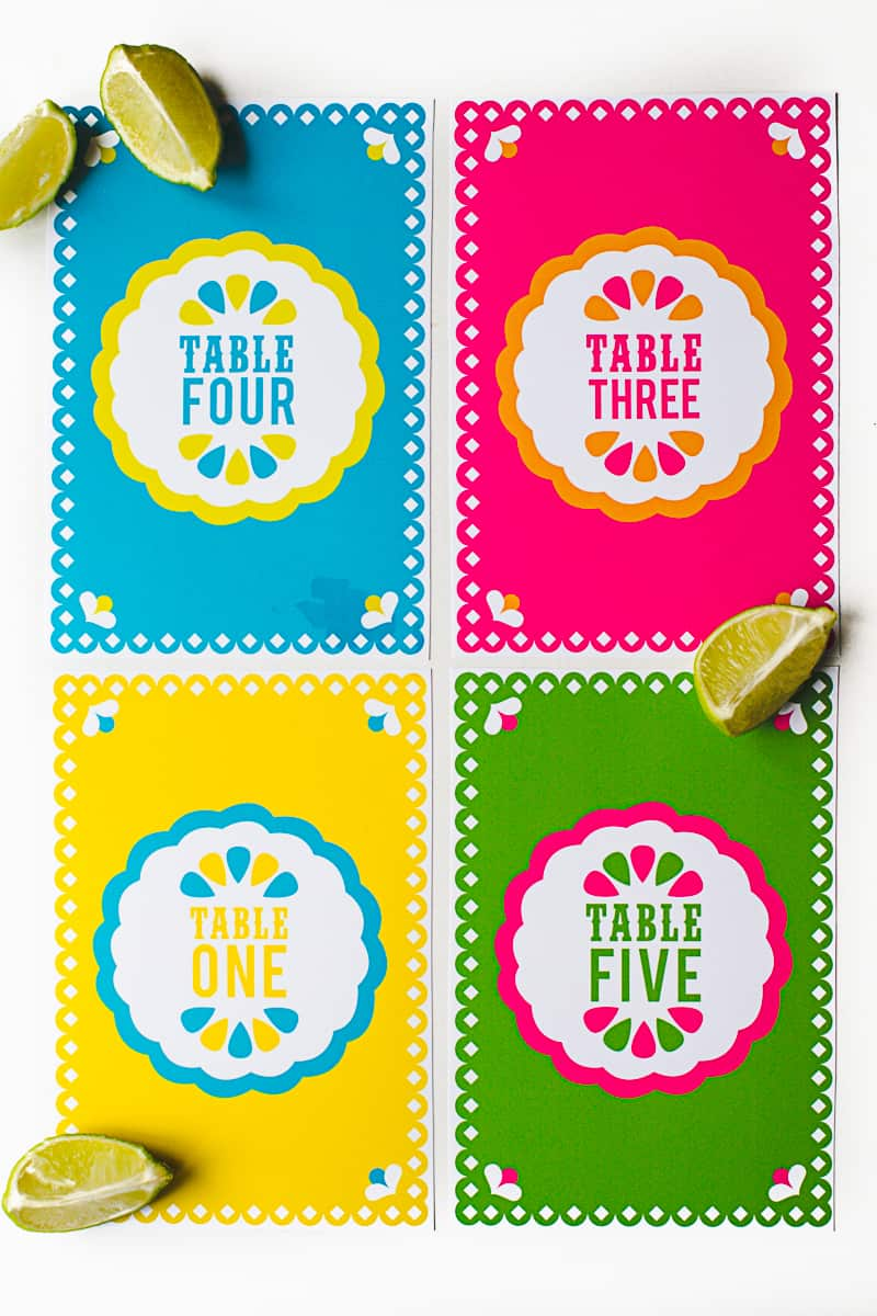 Mexican Themed Printable Table Numbers Papel Picado Cindo De Mayo_-1