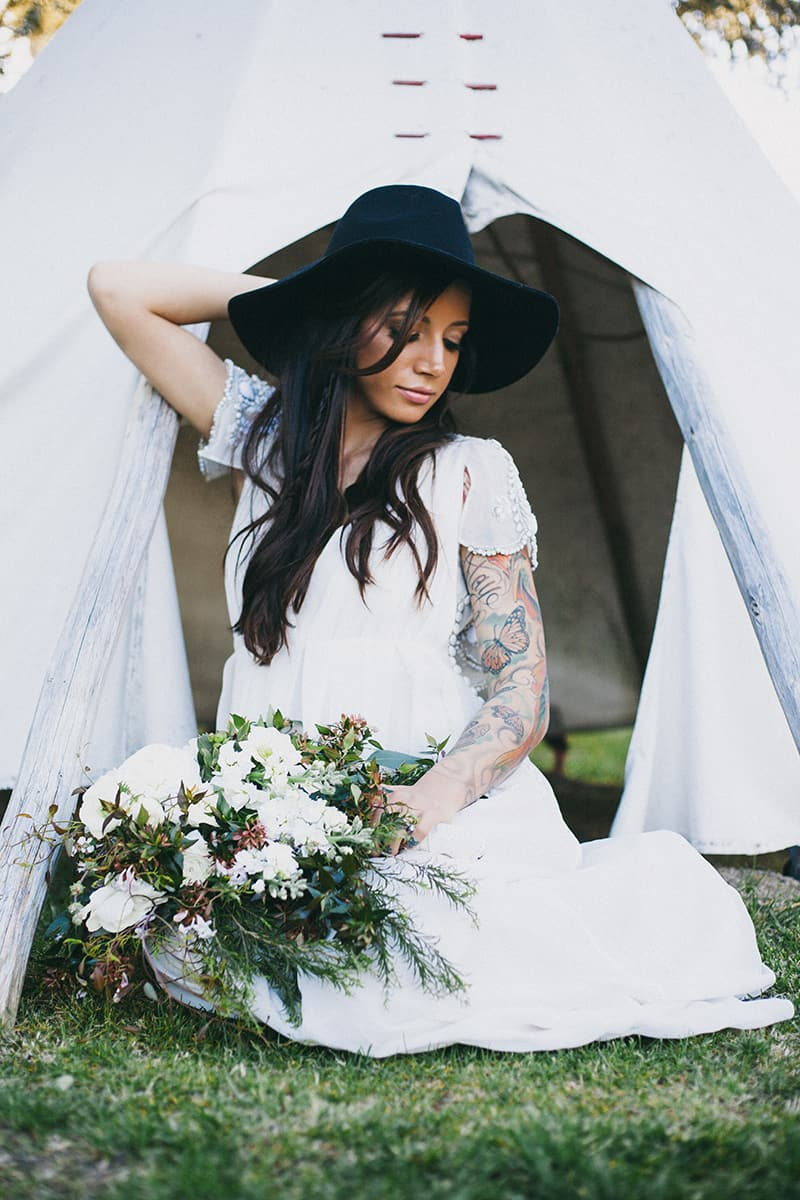 Bohemian Boho Wedding Inspiration Floppy Hat Bride Festival 10