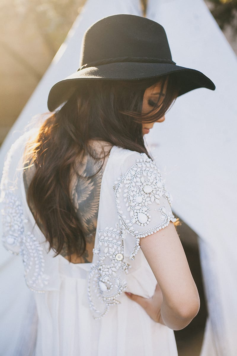 Bohemian Boho Wedding Inspiration Floppy Hat Bride Festival 13