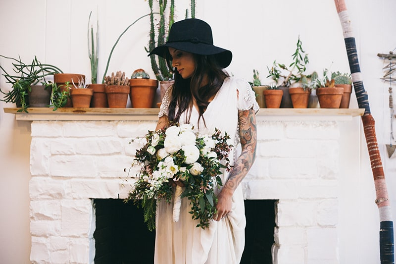 Bohemian Boho Wedding Inspiration Floppy Hat Bride Festival 25