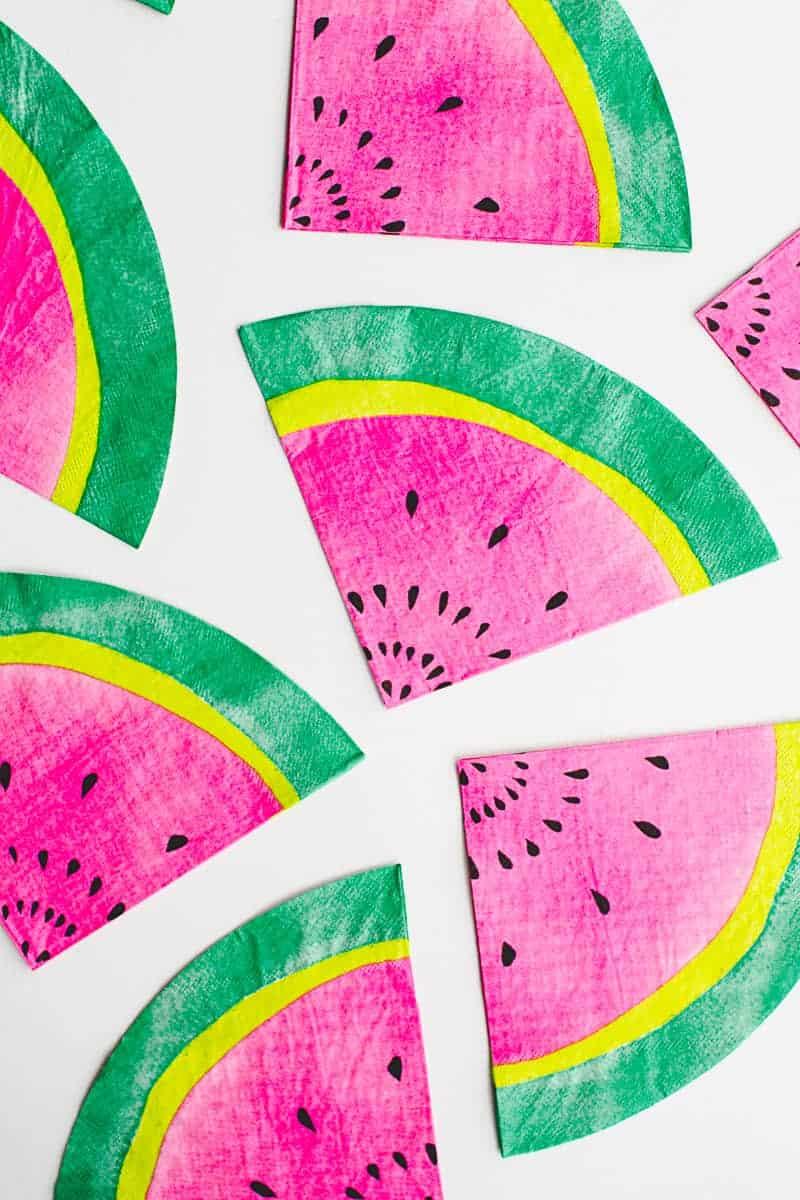 Tutti Frutti Watermelon Napkins Tutorials DIYs