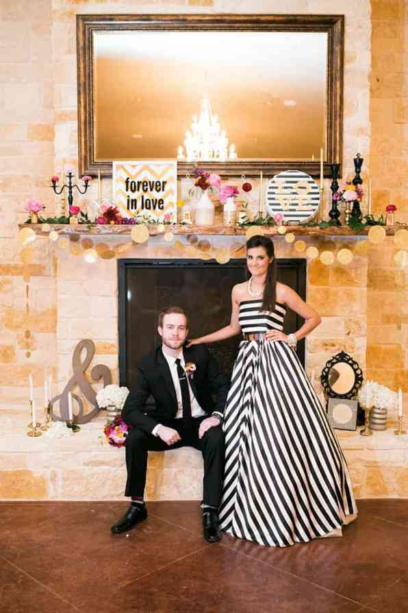 KATE SPADE INSPIRED WEDDING WITH A BLACK AND WHITE STIPE BRIDAL GOWN (27)