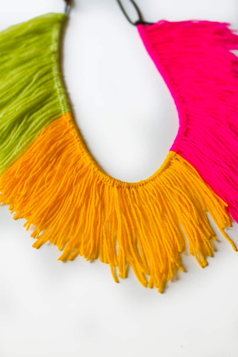 DIY Fringe Statement Necklace Yarn Festival Fashion Neon tutorial bespoke bride-2
