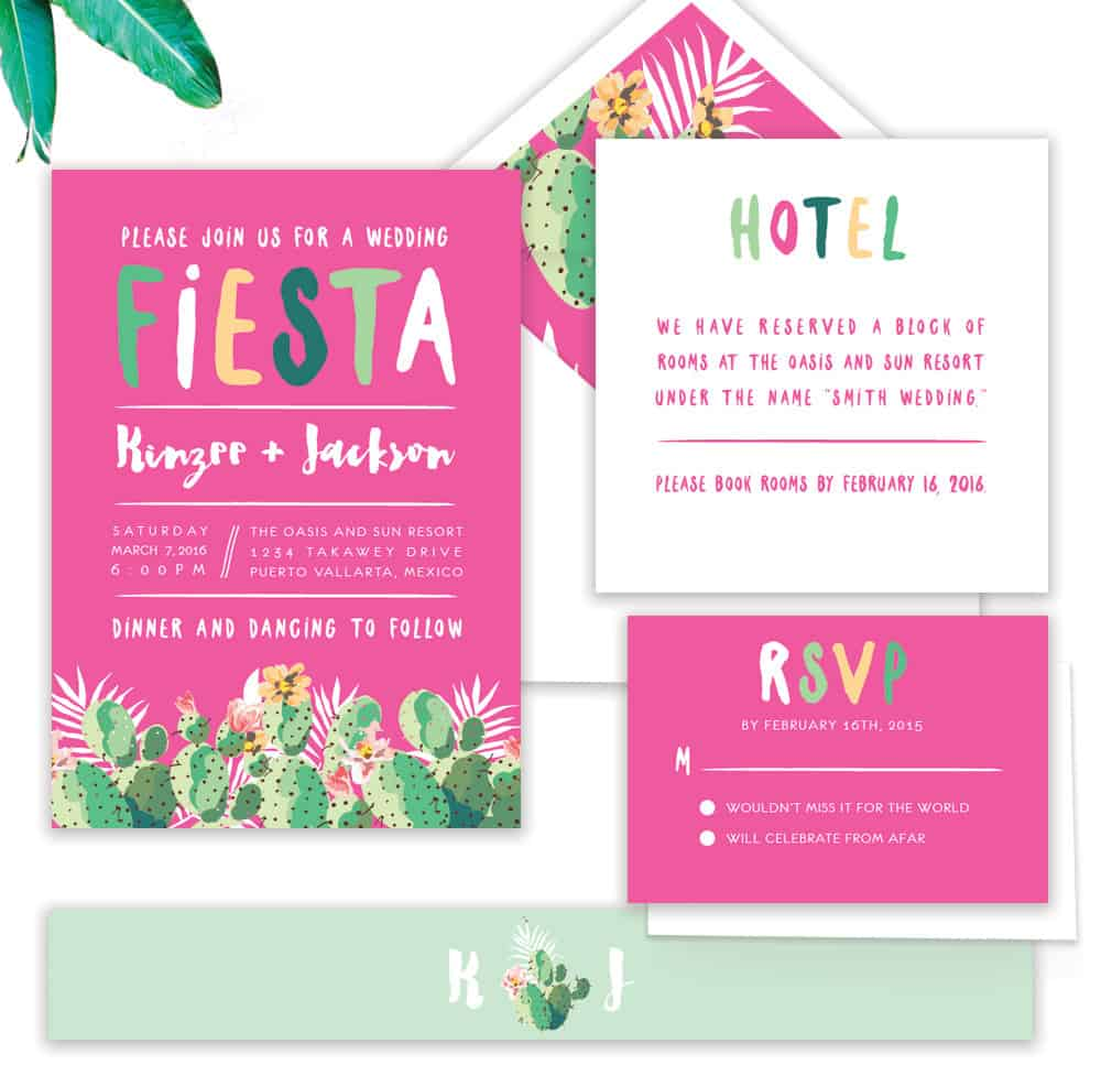 Fiesta Cactus Wedding Invitation Stationery