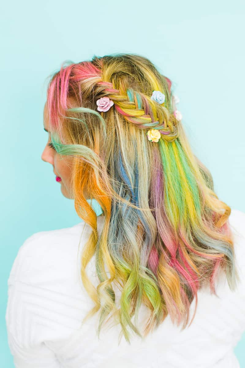 Rainbow Hair Unicorn Pastel style chalk GHD festival hair ideas fishtail plait crown and glory Bespoke Bride tutorial-1 - Copy