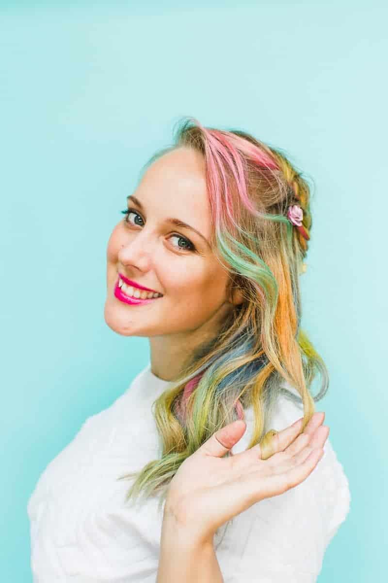 Rainbow Hair Unicorn Pastel style chalk GHD festival hair ideas fishtail plait crown and glory Bespoke Bride tutorial-9 - Copy