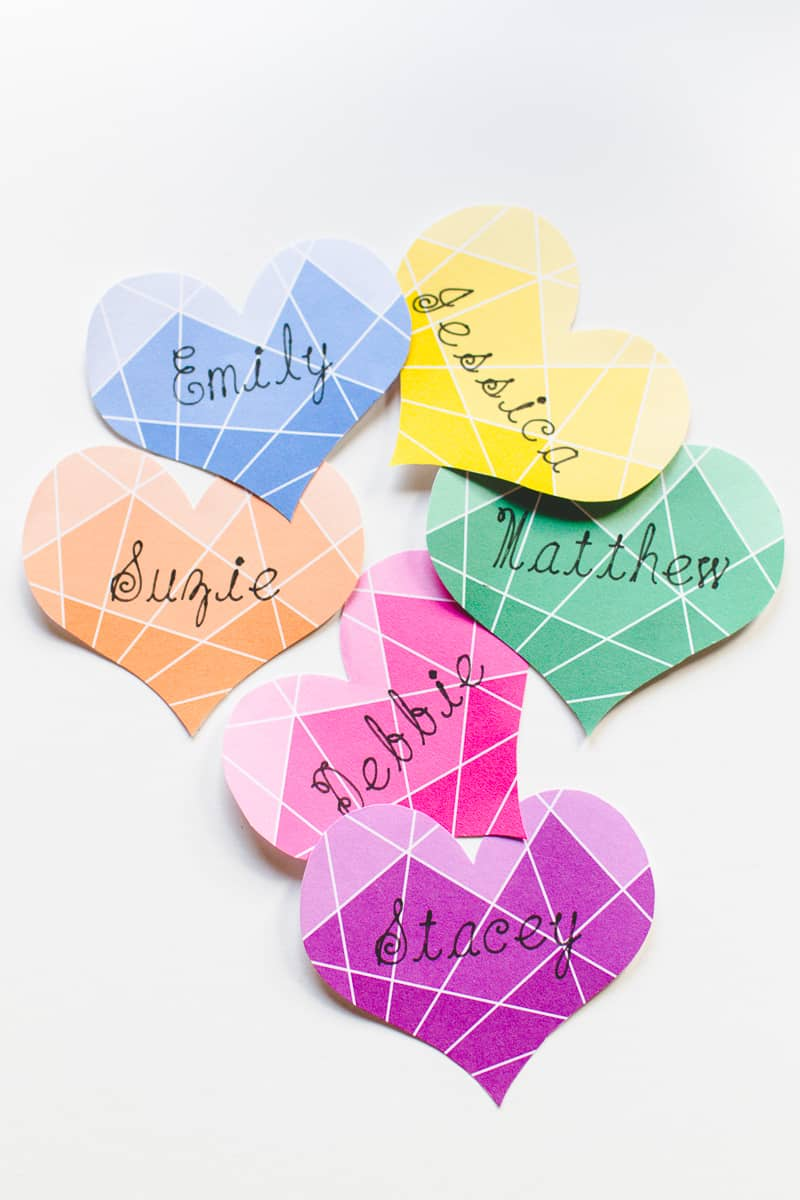 Ombre Wedding DIY place name tutorial free printable geometric Bespoke Bride place setting-3