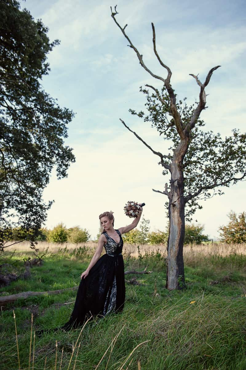 Halloween Wedding Inspiration Black Lace Wedding Dress Cococouture Autumn Fall Pumpkins Gold Cococouture-32