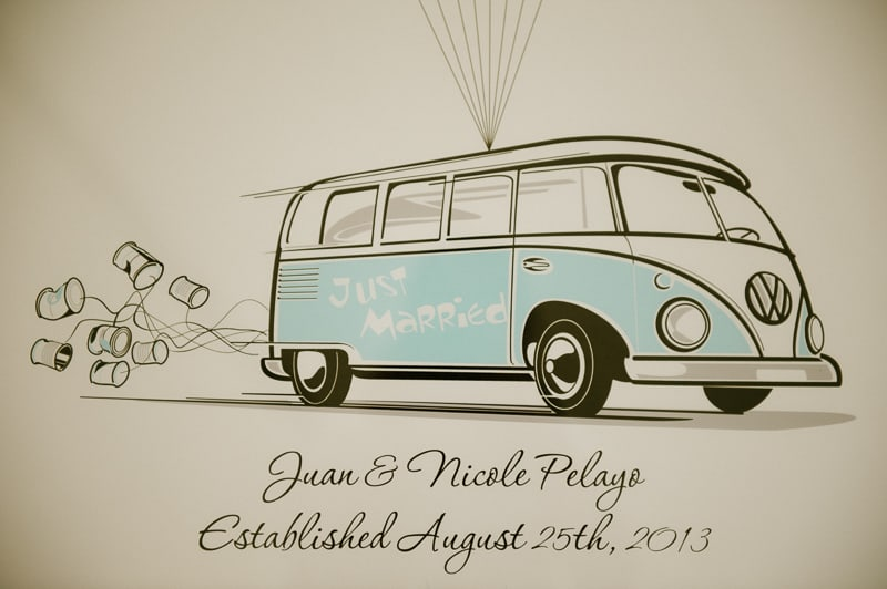 Retro campervan hippie wedding with chevrons & succulents-12