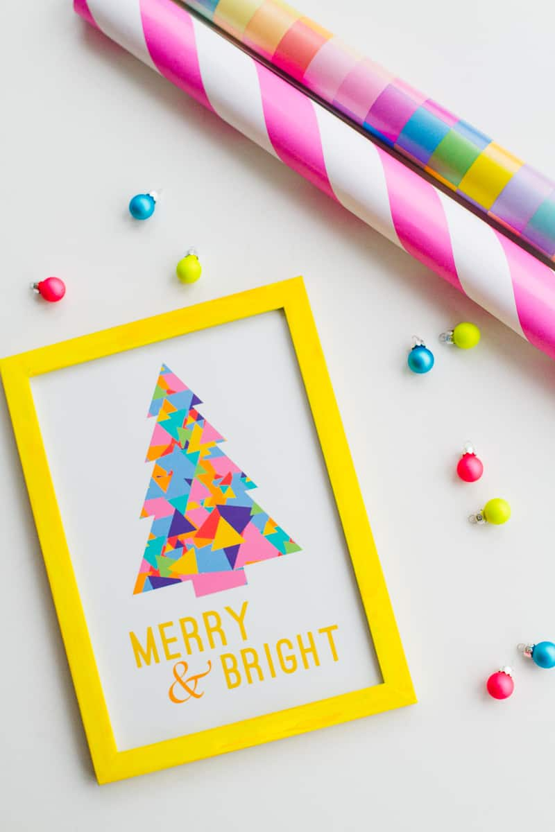 Free Printable Christmas Print Merry and bright quote frame modern geometric colourful colorful tree-2