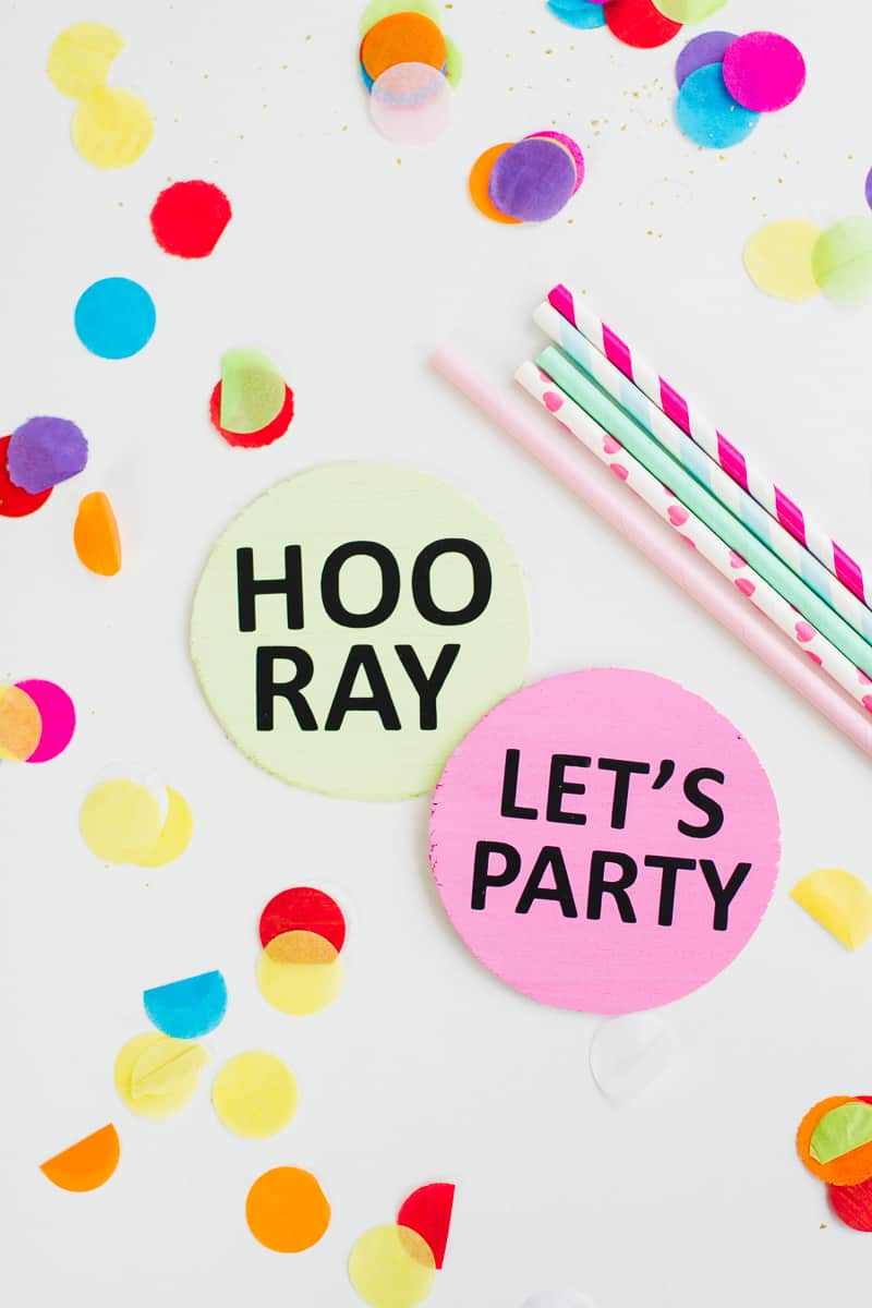 Coaster DIY party mems fun colourful typography font hooray lets party OMG pastels chin chin yay new years eve party DIY tutorial-2