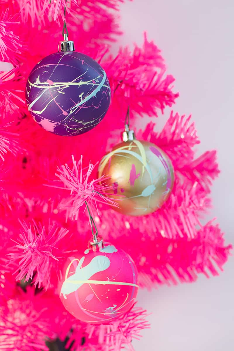 How to decorate your own baubles christmas DIY tutorial cricut paint splattered vinyl typography quotes colour blocked colourful modern bright jolly merry-3