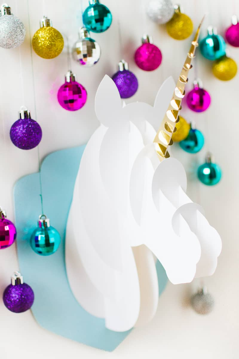 Unicorn head DIY christmas decoration tutorial 3d papercraft cricut card xmas modern_-4