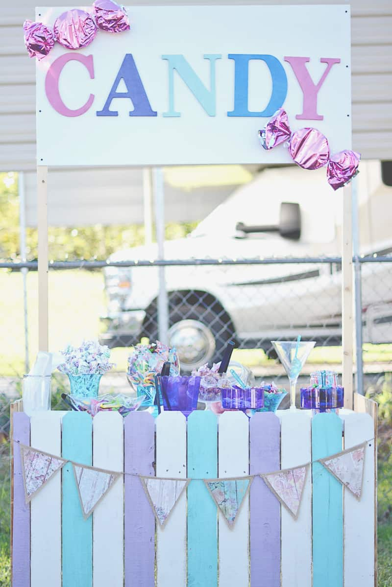 Carnival themed wedding backyard colourful sweet stand candy popcorn-4