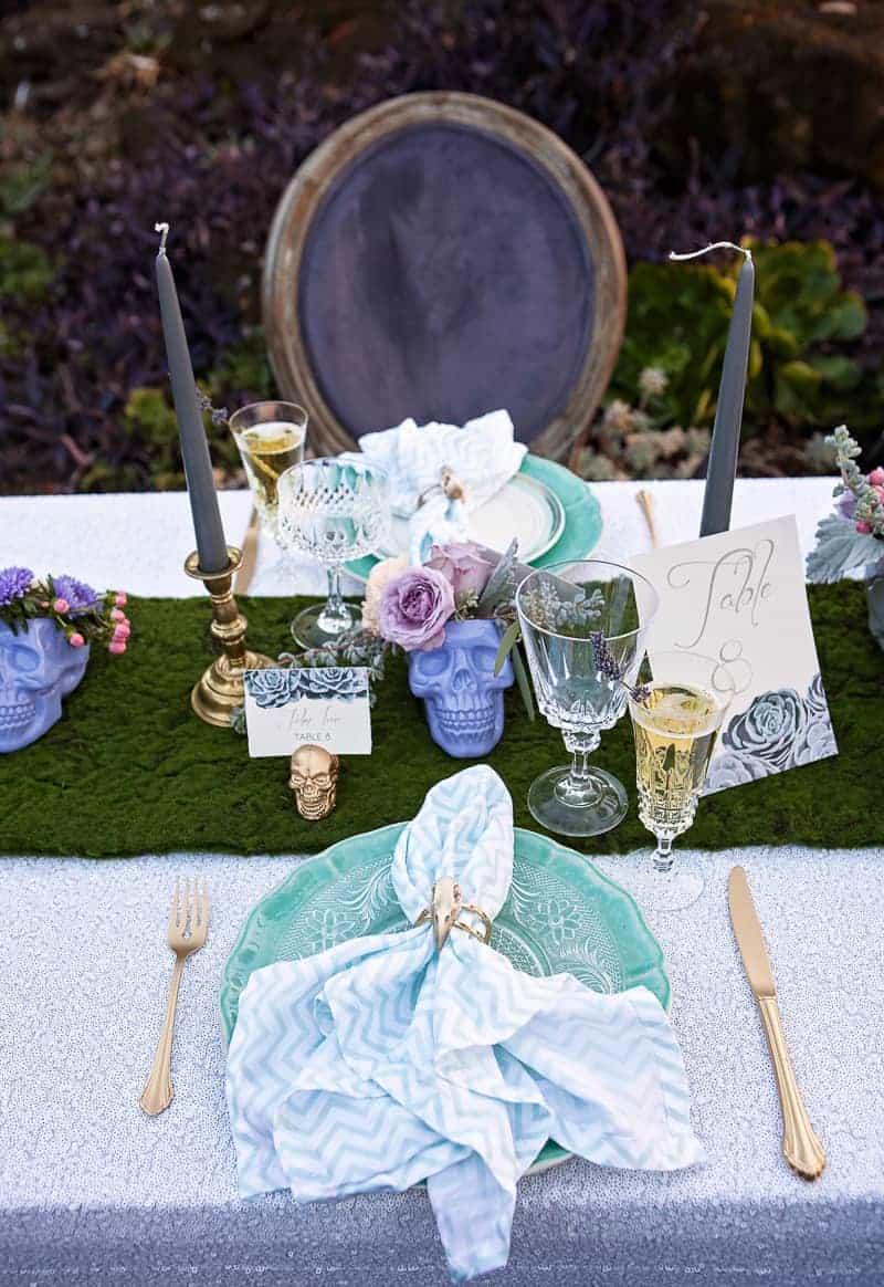 Spring style wedding inspiration skull theme scheme pastel colours modern_-11