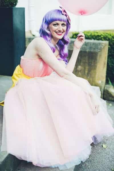 Kitsch british wedding bride with purple bangs