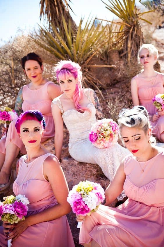 Pink Punk Rock Vegas Wedding Brides with Bangs