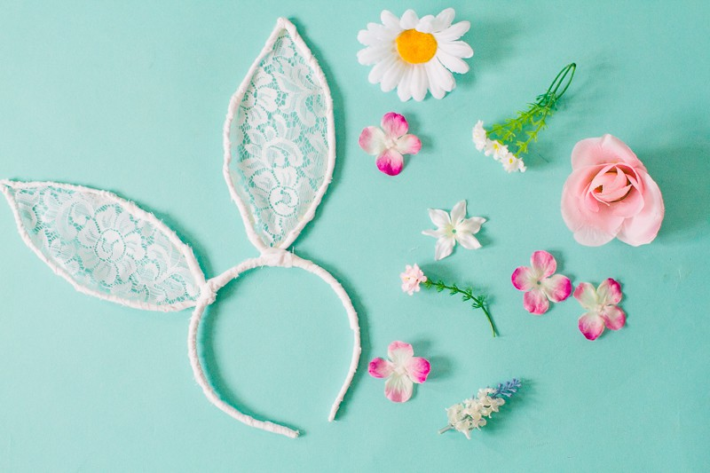 DIY bunny ears floral flower crown easter spring tutorial with faux flowers and lace flower girl accessories headband-3