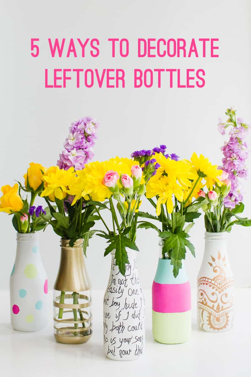 5 ways to decorate leftover bottles for your wedding table decor with paint spray paint sharpies