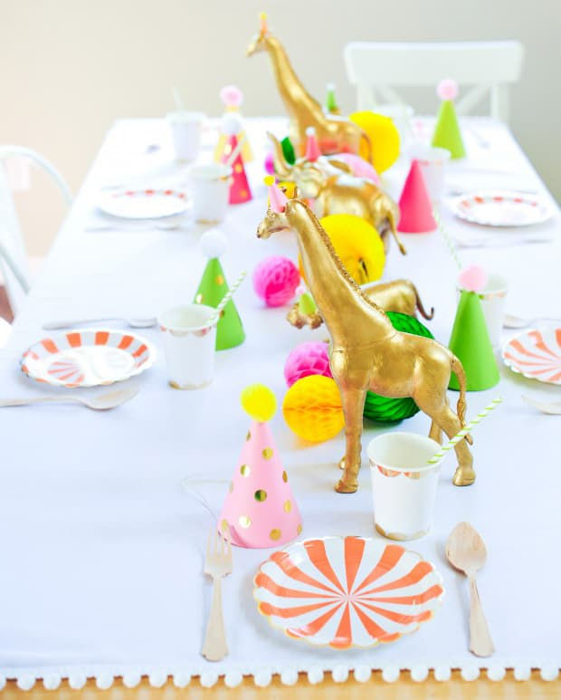 Animal Themed Table Decor Gold Spraypainted 2