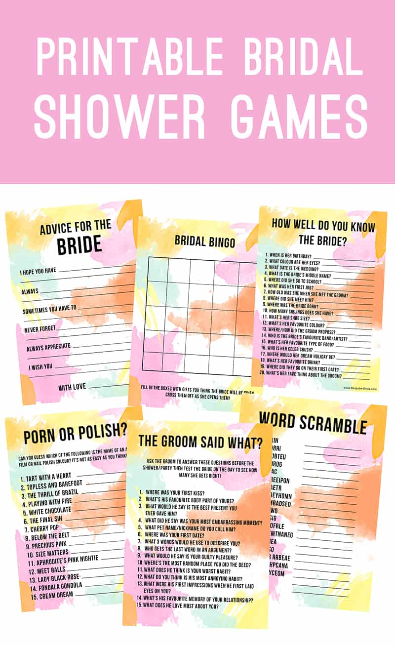 Bridal Shower Games Hen Party Bachelorette Party Watercolour 4 Blog