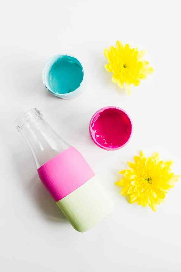 DIY colour block bright bold bottle tutorial wedding decor painted 2