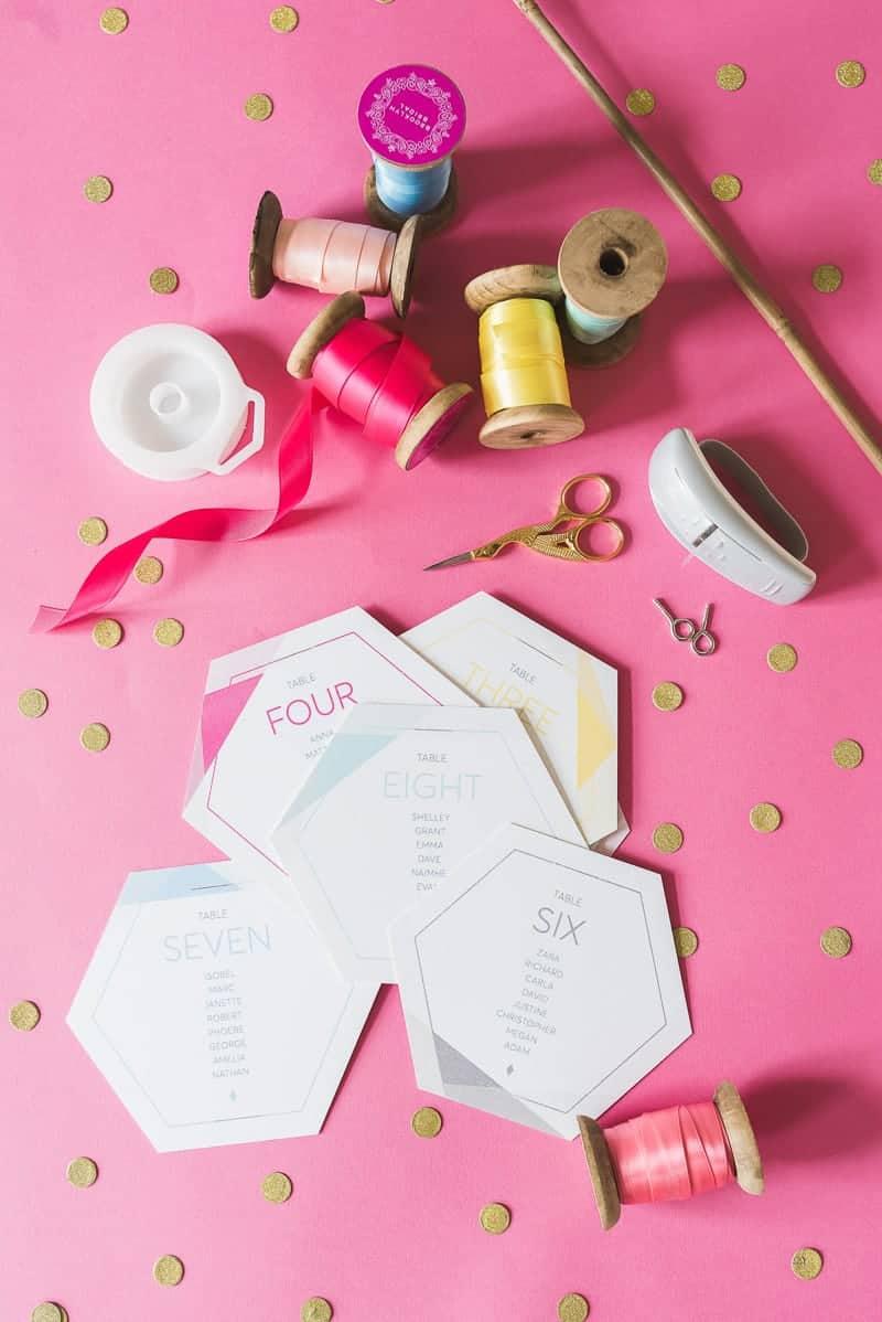 DIY colourful ribbon table plan unique alternative escort cards-19