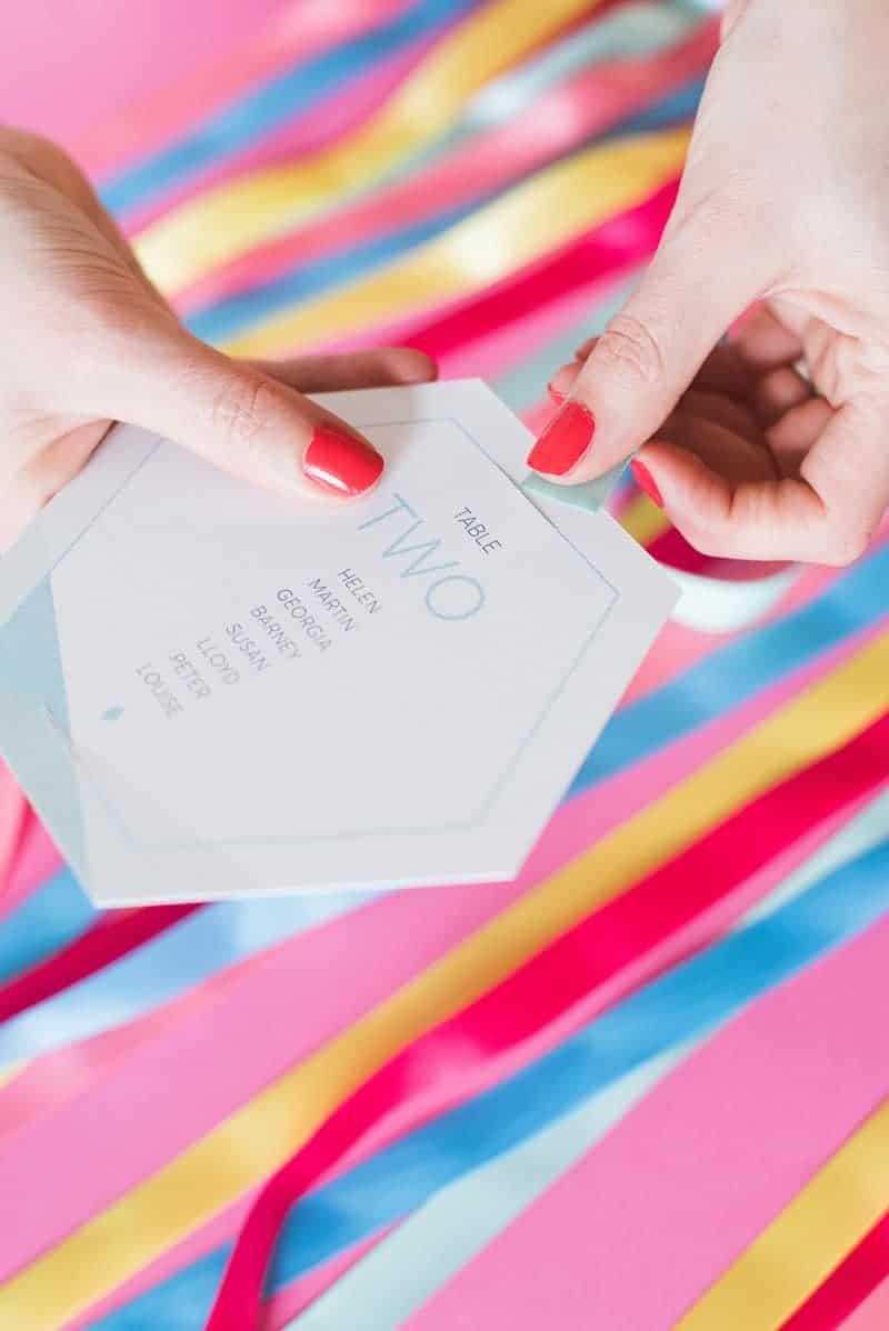 DIY colourful ribbon table plan unique alternative escort cards-5