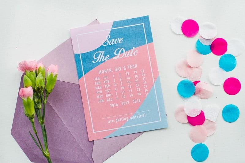 Free Printable download save the dates modern pink blue colour scheme calendar-4
