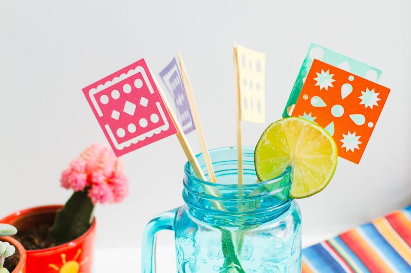 DIY Papel Picado Flag Drink Stirrers Wedding Decor Cricut Explore Colourful Mexican theme_-10