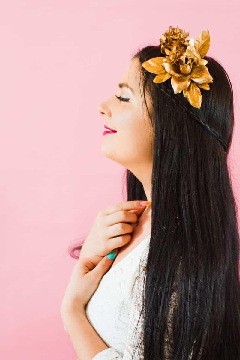 DIY metallic bronze gold floral crown faux flower headband Wedding bridal_-11