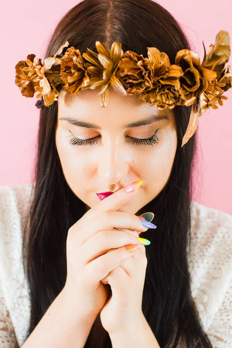 DIY metallic bronze gold floral crown faux flower headband Wedding bridal_-12