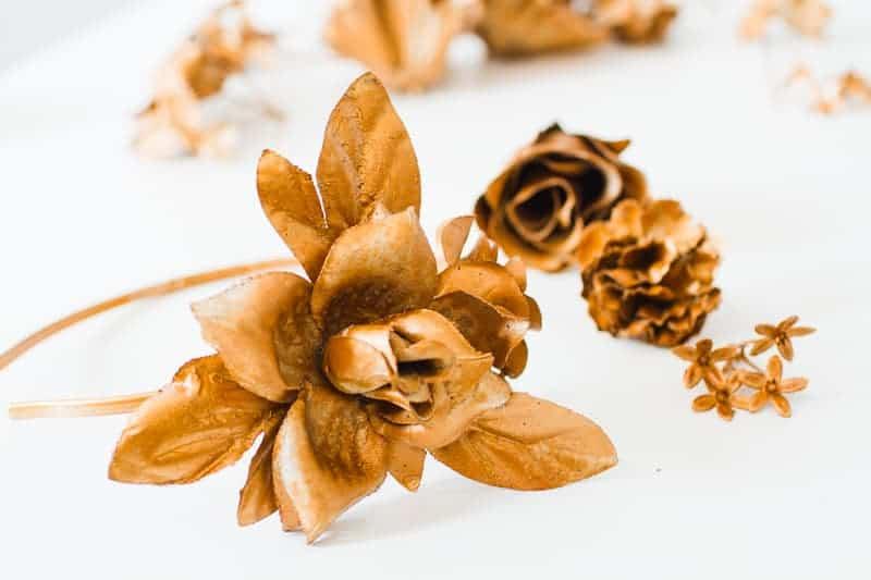DIY metallic bronze gold floral crown faux flower headband Wedding bridal_-4
