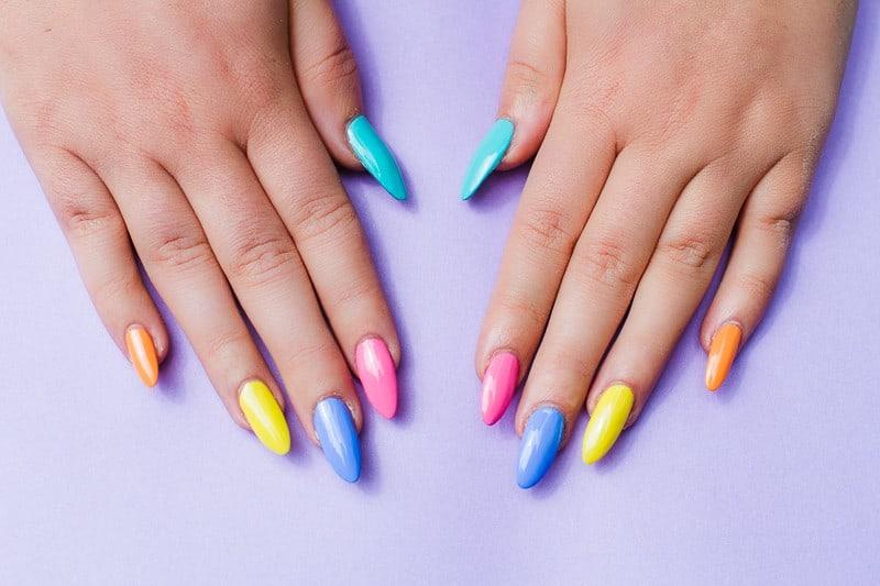 Geometric Bright Colourful Nail Tutorial Nail designs modern fun-1