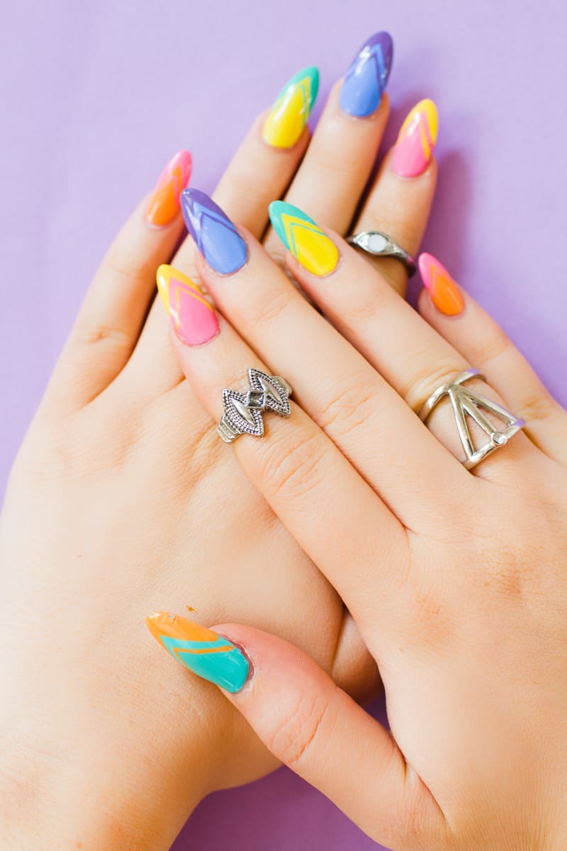 Geometric Bright Colourful Nail Tutorial Nail designs modern fun-4