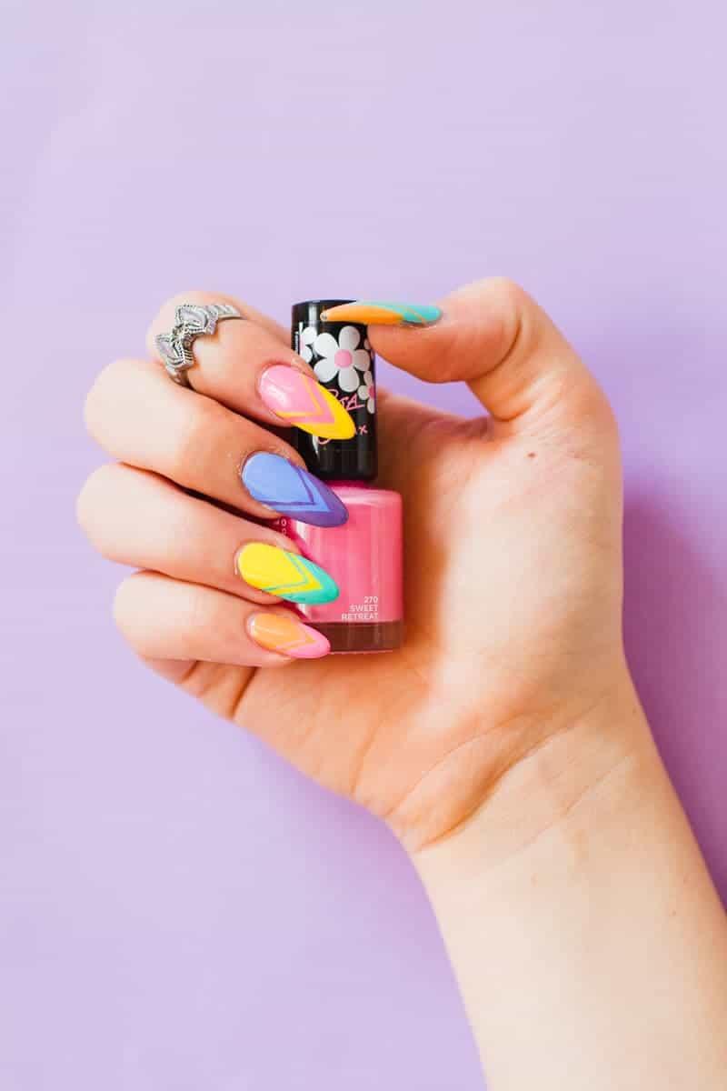 Geometric Bright Colourful Nail Tutorial Nail designs modern fun-6