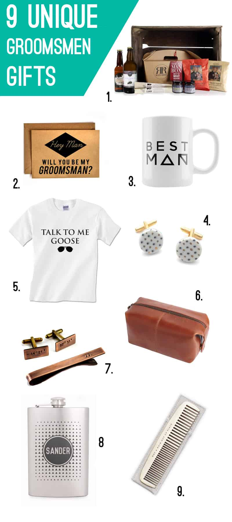 9 unique Groomsmen Gifts- for Him- Best Man- Wedding