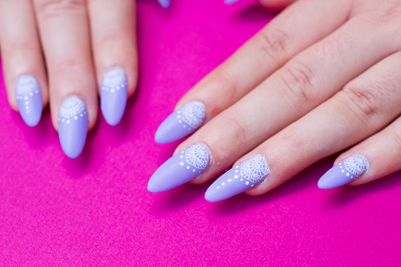 Festival Lace Bridal Nails Lavender Purple Elegant Glastonbury Nail Tutorial_-8