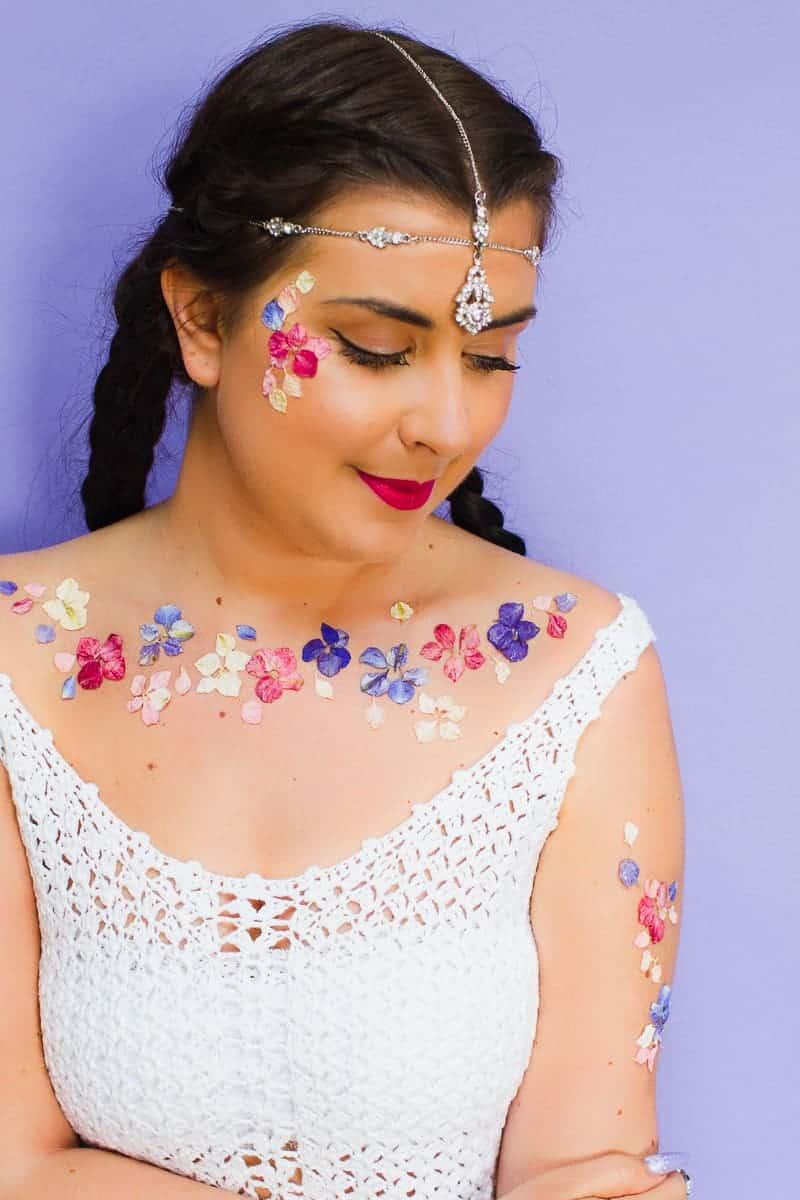 Flower Tattoos Temporary Festival Wedding Inspiration Ideas How to DIY confetti shropshire petals glastonbury style-1