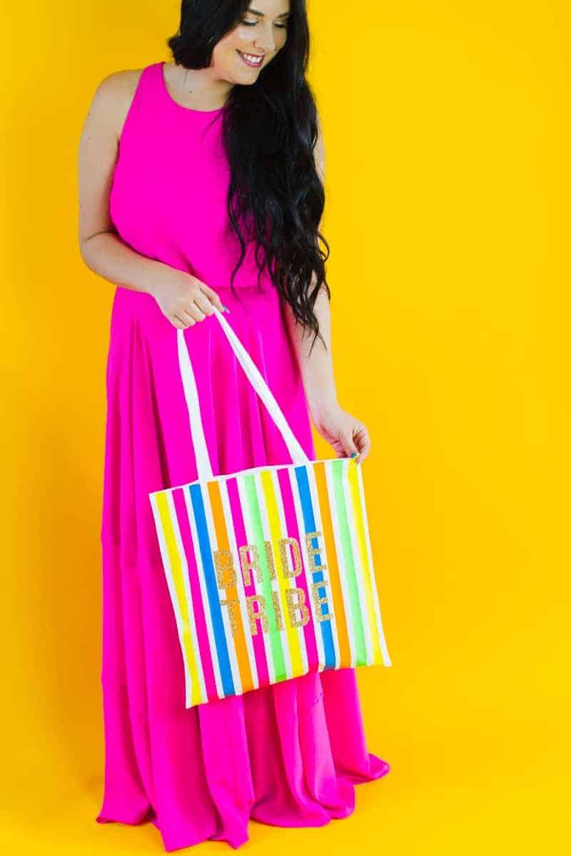 Bride tribe tote bag DIY tutorial Neon fun bridesmaid gift Cricut Explore Iron on Bag_-2
