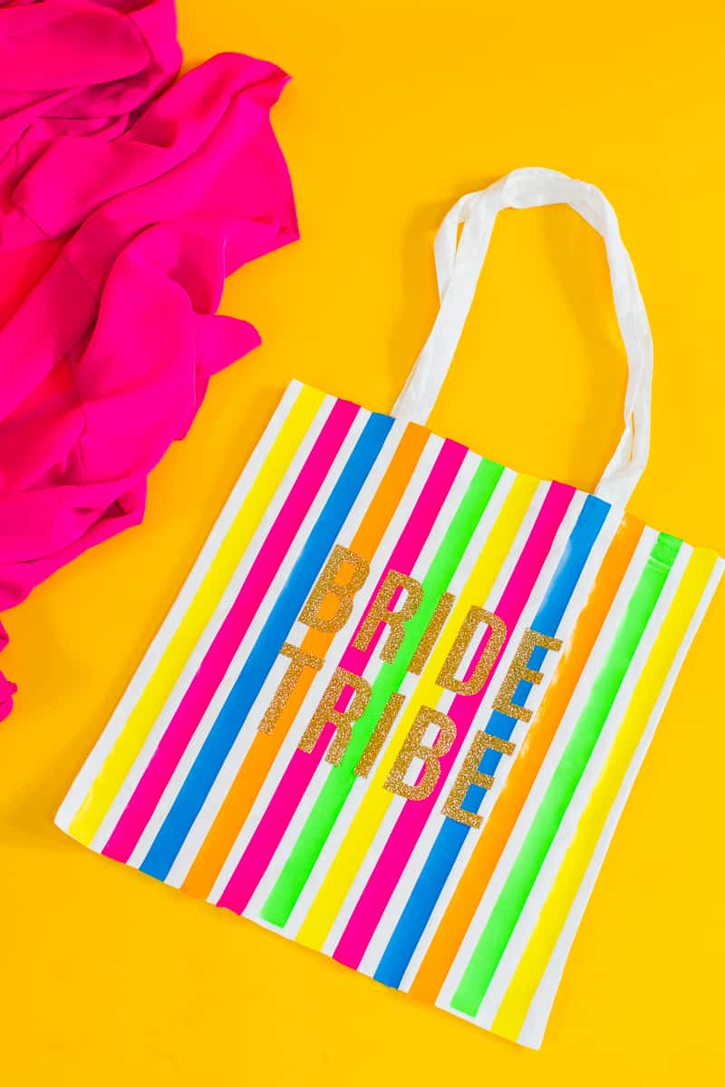 Bride tribe tote bag DIY tutorial Neon fun bridesmaid gift Cricut Explore Iron on Bag_-4