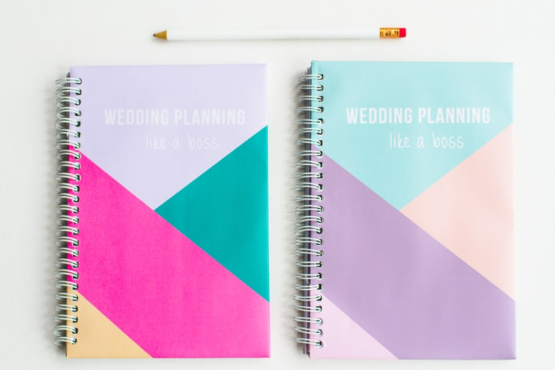 Free printable notebook cover wedding planning geometric modern notes stationery-5