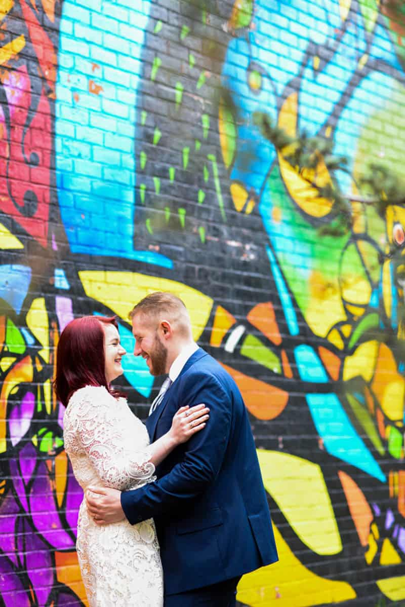 Sweet NYC elopement Colourful Wall murals in Brooklyn