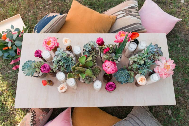 BOLD & VIBRANT HOT PINK CORAL BOHEMIAN STYLING WEDDING IDEAS (18)