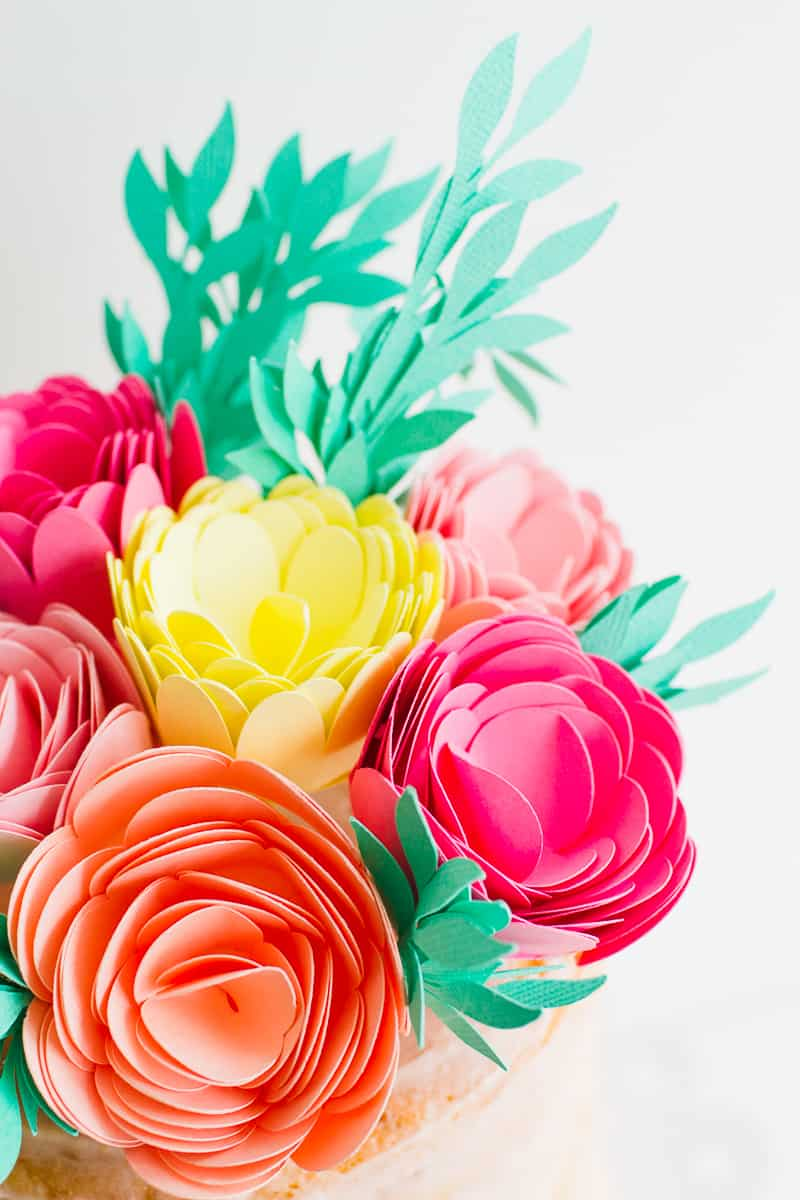 DIY Card Flower Cake Topper with Foliage How to make floral Topper-16