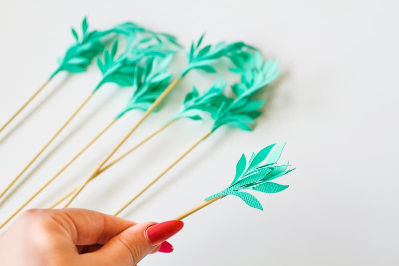 DIY Card Flower Cake Topper with Foliage How to make floral Topper-6