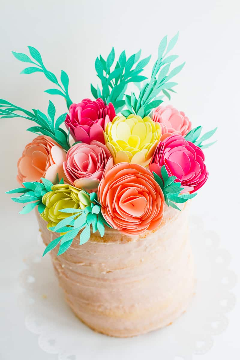 DIY Card Flower Cake Topper with Foliage How to make floral Topper-9