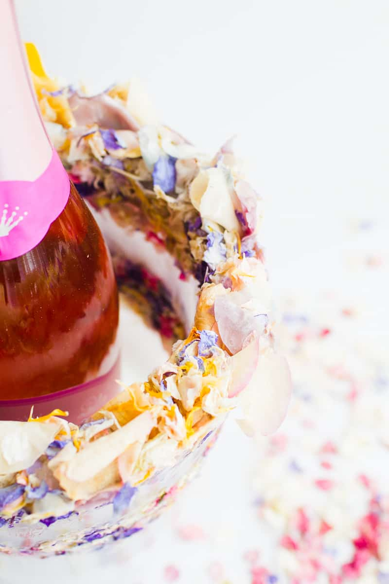 DIY Floral Flower Ice Bucket with Natural Confetti from Shropshire Petals Wine Cooler Champagne_-11